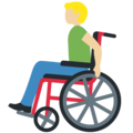 Man in Manual Wheelchair: Medium-Light Skin Tone on Twitter Twemoji 12.1