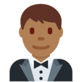 Man in Tuxedo: Medium-Dark Skin Tone on Twitter Twemoji 12.1