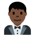 Man in Tuxedo: Dark Skin Tone on Twitter Twemoji 12.1