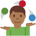 Man Juggling: Medium-Dark Skin Tone on Twitter Twemoji 12.1