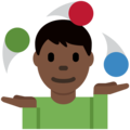 Man Juggling: Dark Skin Tone on Twitter Twemoji 12.1