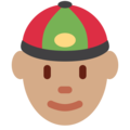 Man With Chinese Cap: Medium Skin Tone on Twitter Twemoji 12.1