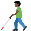 Man With Probing Cane: Dark Skin Tone on Twitter Twemoji 12.1