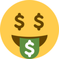 Money-Mouth Face on Twitter Twemoji 12.1