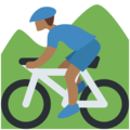 Person Mountain Biking: Medium-Dark Skin Tone on Twitter Twemoji 12.1
