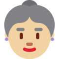 Old Woman: Medium-Light Skin Tone on Twitter Twemoji 12.1