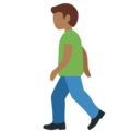 Person Walking: Medium-Dark Skin Tone on Twitter Twemoji 12.1