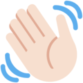 Waving Hand: Light Skin Tone on Twitter Twemoji 12.1