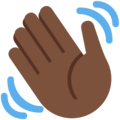 Waving Hand: Dark Skin Tone on Twitter Twemoji 12.1