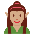 Woman Elf: Medium Skin Tone on Twitter Twemoji 12.1