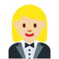Woman in Tuxedo: Medium-Light Skin Tone on Twitter Twemoji 12.1
