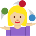 Woman Juggling: Medium-Light Skin Tone on Twitter Twemoji 12.1