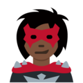 Woman Supervillain: Dark Skin Tone on Twitter Twemoji 12.1