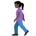 Woman Walking: Dark Skin Tone on Twitter Twemoji 12.1