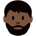 Man: Dark Skin Tone, Beard on Twitter Twemoji 12.1.3