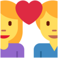 Couple With Heart: Woman, Man on Twitter Twemoji 12.1.3