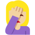 Person Facepalming: Medium-Light Skin Tone on Twitter Twemoji 12.1.3