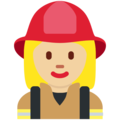 Woman Firefighter: Medium-Light Skin Tone on Twitter Twemoji 12.1.3