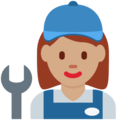 Woman Mechanic: Medium Skin Tone on Twitter Twemoji 12.1.3
