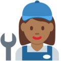 Woman Mechanic: Medium-Dark Skin Tone on Twitter Twemoji 12.1.3