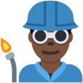 Man Factory Worker: Dark Skin Tone on Twitter Twemoji 12.1.3
