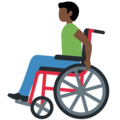 Man in Manual Wheelchair: Dark Skin Tone on Twitter Twemoji 12.1.3