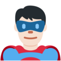 Man Superhero: Light Skin Tone on Twitter Twemoji 12.1.3