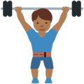 Man Lifting Weights: Medium-Dark Skin Tone on Twitter Twemoji 12.1.3