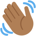 Waving Hand: Medium-Dark Skin Tone on Twitter Twemoji 12.1.3
