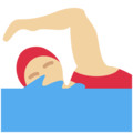 Woman Swimming: Medium-Light Skin Tone on Twitter Twemoji 12.1.3