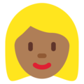 Woman: Medium-Dark Skin Tone, Blond Hair on Twitter Twemoji 12.1.4
