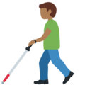 Man With Probing Cane: Medium-Dark Skin Tone on Twitter Twemoji 12.1.4
