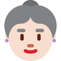 Old Woman: Light Skin Tone on Twitter Twemoji 12.1.4