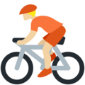 Person Biking: Medium-Light Skin Tone on Twitter Twemoji 12.1.5