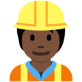 Construction Worker: Dark Skin Tone on Twitter Twemoji 12.1.5