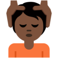 Person Getting Massage: Dark Skin Tone on Twitter Twemoji 12.1.5