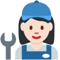 Woman Mechanic: Light Skin Tone on Twitter Twemoji 12.1.5