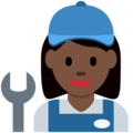 Woman Mechanic: Dark Skin Tone on Twitter Twemoji 12.1.5