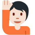 Person Raising Hand: Light Skin Tone on Twitter Twemoji 12.1.5