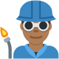 Man Factory Worker: Medium-Dark Skin Tone on Twitter Twemoji 12.1.5