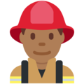 Man Firefighter: Medium-Dark Skin Tone on Twitter Twemoji 12.1.5