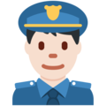 Man Police Officer: Light Skin Tone on Twitter Twemoji 12.1.5