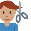 Man Getting Haircut: Medium Skin Tone on Twitter Twemoji 12.1.5