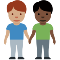 Men Holding Hands: Medium Skin Tone, Dark Skin Tone on Twitter Twemoji 12.1.5