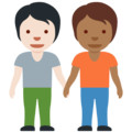 People Holding Hands: Light Skin Tone, Medium-Dark Skin Tone on Twitter Twemoji 12.1.5