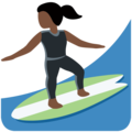 Woman Surfing: Dark Skin Tone on Twitter Twemoji 12.1.5