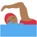 Woman Swimming: Medium-Dark Skin Tone on Twitter Twemoji 12.1.5