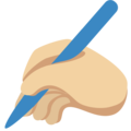 Writing Hand: Medium-Light Skin Tone on Twitter Twemoji 12.1.5