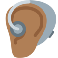Ear with Hearing Aid: Medium-Dark Skin Tone on Twitter Twemoji 13.0