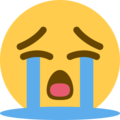 Loudly Crying Face on Twitter Twemoji 13.0